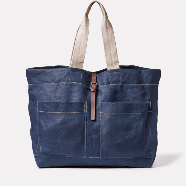 Tim Hemp Tote in Dark Navy Front