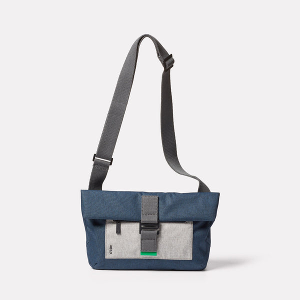 Travis Non Leather Travel Cycle Satchel in Navy/Grey Front with strap