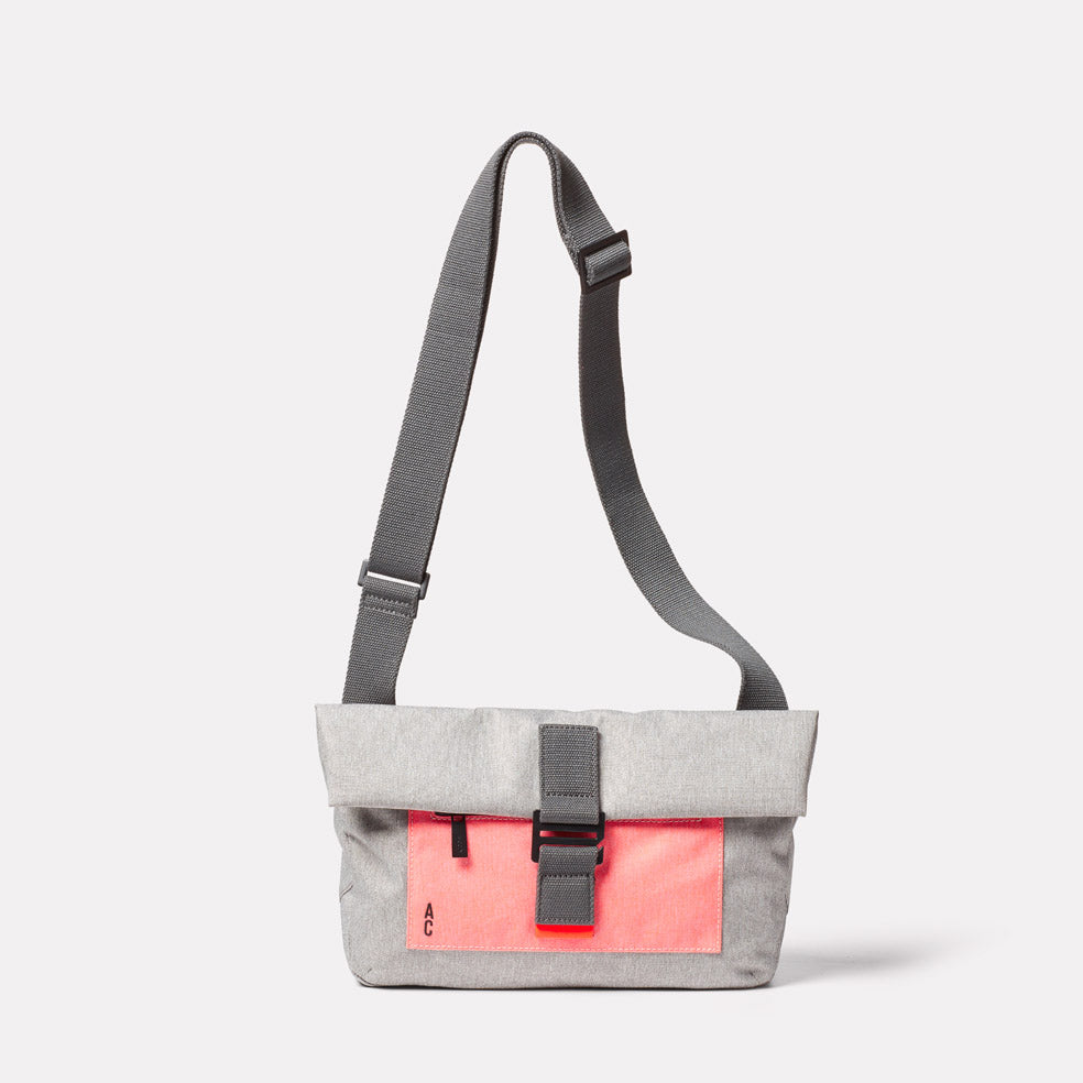 Travis Non Leather Travel Cycle Satchel in Grey/Orange