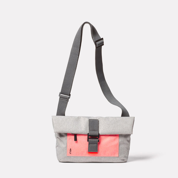 Travis Non Leather Travel Cycle Satchel in Grey/Orange Front