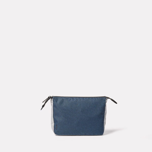 Wiggy Non Leather Travel Cycle Washbag in Navy/Grey front
