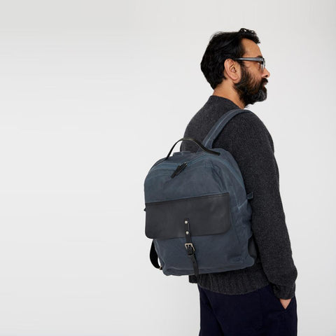 iAn Waxed Cotton & Leather Rucksack in Navy & Grey