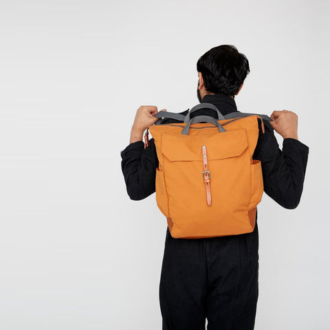 Ashley Waxed Cotton Rucksack in Orange