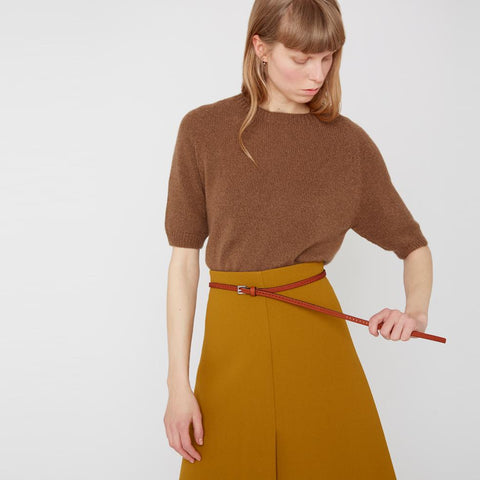 Bibitty Slim Leather Belt in Tan