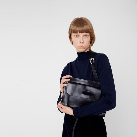 Jackie Jetset Leather Crossbody Bag in Navy
