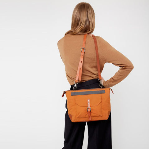 Francesca Waxed Cotton Crossbody Bag in Orange