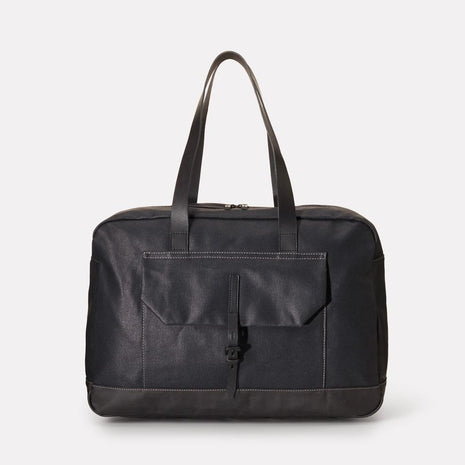 Dave Waxed Canvas Weekend Bag in Black