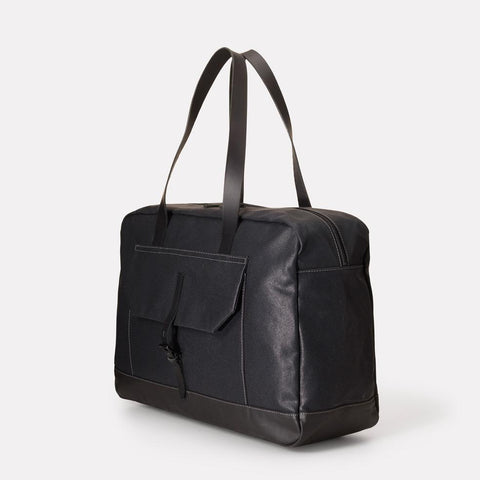 Dave Waxed Canvas Weekend Bag in Black With Leather Straps For Men and Women