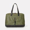 Dave Waxed Canvas Weekend Bag in Green With Leather Straps For Men and Women