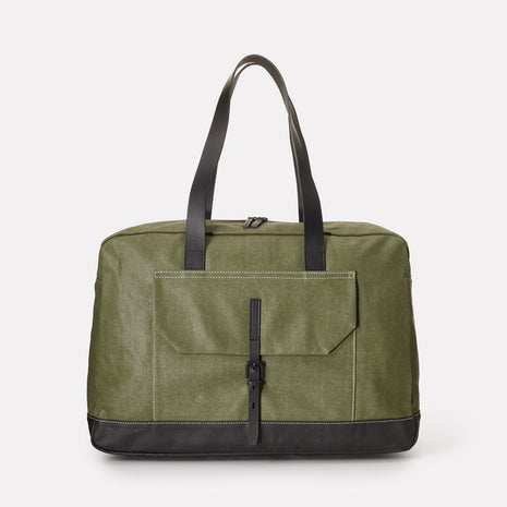 Dave Waxed Canvas Weekend Bag in Green