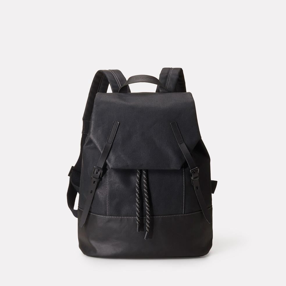 Dean Waxed Canvas Rucksack in Black