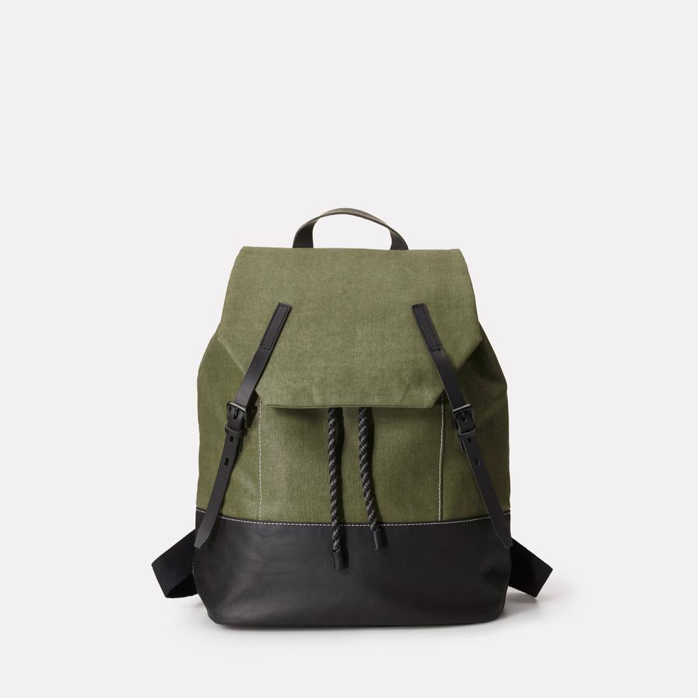 Dean Waxed Canvas Drawstring Backpack in Green For Men and Women