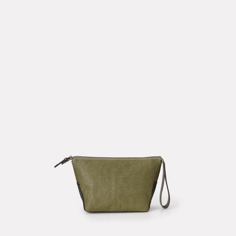 Del Waxed Canvas Washbag in Green
