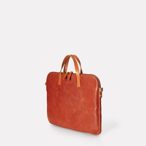 Gaudi Calvert Leather Folio Bag in Brandy