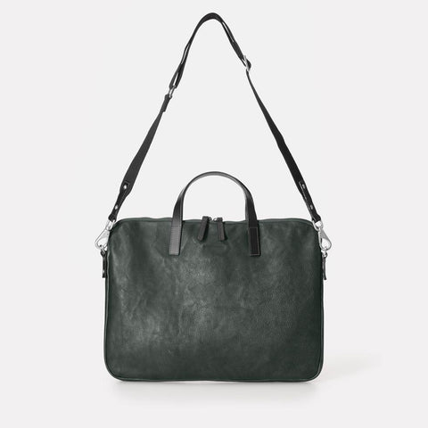Gaudi Calvert Leather Folio Bag in Dark Green