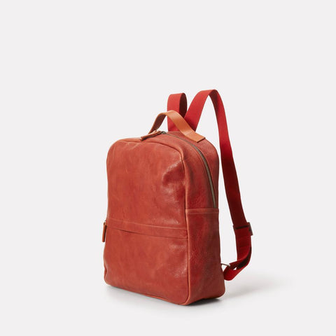 Tàpies Large Vegetable Tanned Leather Zip-Up Backpack With Webbing Straps in Brandy for Men