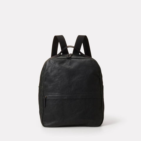Tàpies Large Vegetable Tanned Leather Zip-Up Backpack With Webbing Straps in Dark Green for Men