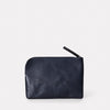 Big Jan Metallic Leather Zip-Round Purse in Silver & Navy for Women
