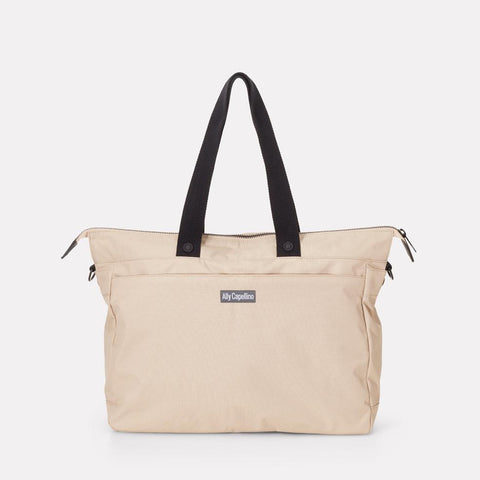 Teddy Ripstop Travel Holdall in Beige With Webbing Straps For Men and Women