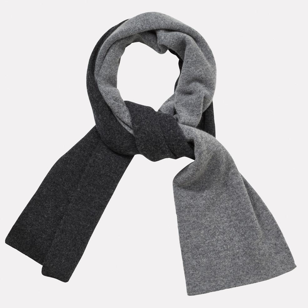 100% Lambswool Scarf Hat in Charcoal & Grey For Women and Men