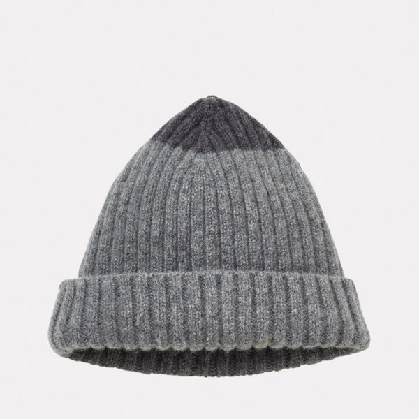 100% Lambswool Knit Hat in Charcoal & Grey For Women and Men