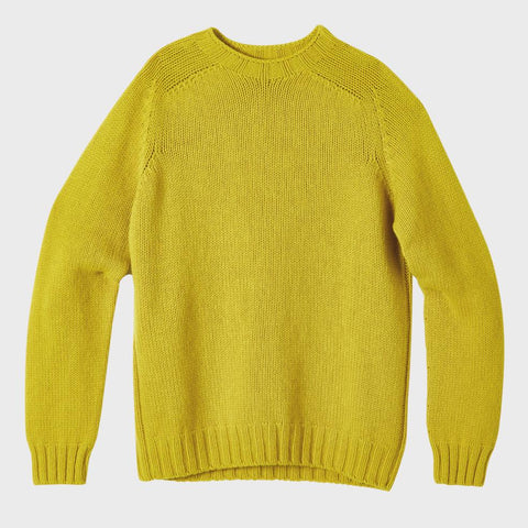 Mens Knit Crew Neck in 100% Lambswool in Yellow For Men