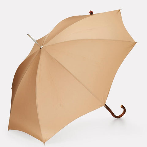 Victoria Umbrella in Grey With Wooden Shaft and Curved Handle For Women