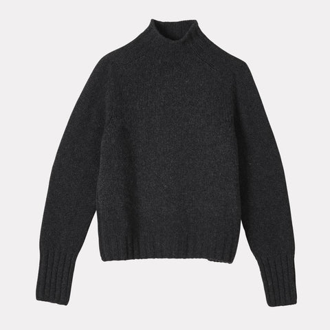 Ladies Knit Turtleneck in 100% Lambswool in Charcoal Grey For Women