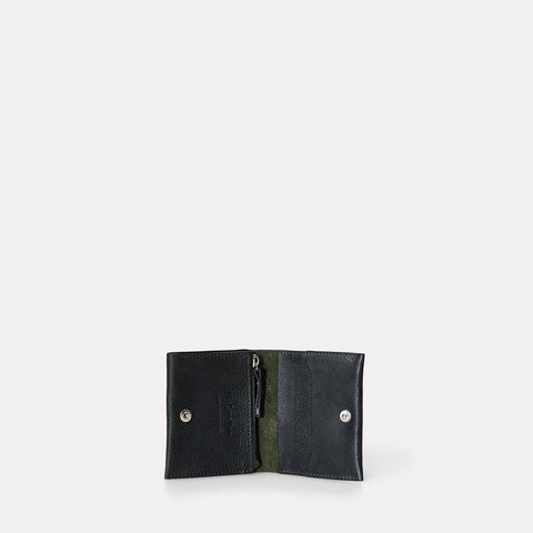 Riley Leather Wallet With Zip Up Coin Section in Dark Green Men and Women
