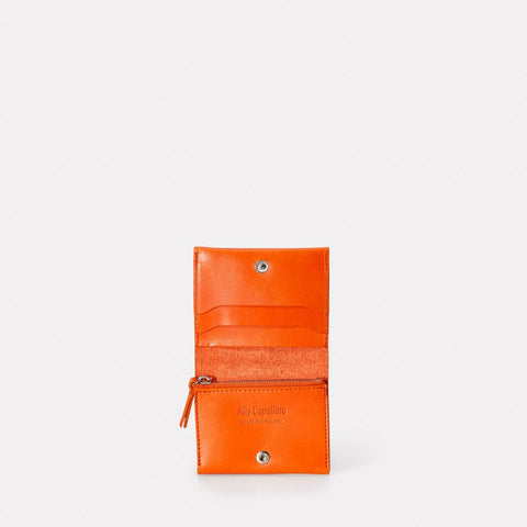 Riley Leather Wallet With Zip Up Coin Section in Orange Men and Women