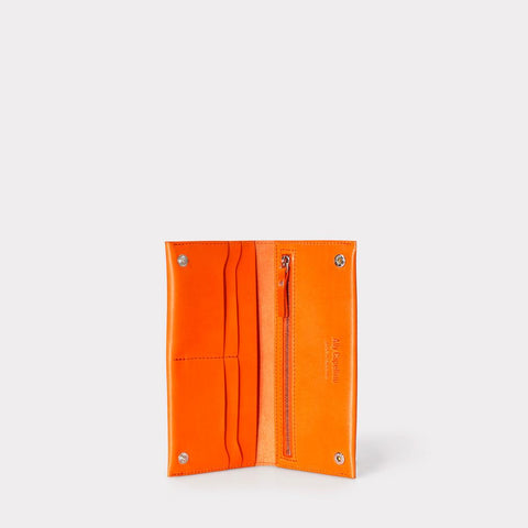 Evie Long Leather Wallet in Orange For Women