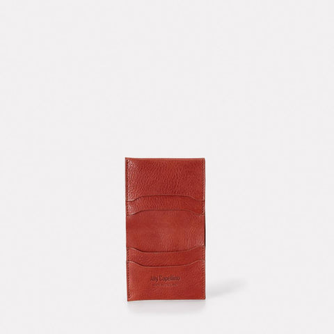 Oliver Slim Leather Wallet For Notes and Cards in Brandy for Men and Women