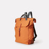 Ashley Waxed Cotton Multi-Pocket Backpack in Orange for Men and Women