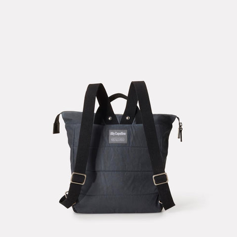 Frances Small Waxed Cotton Zip Up Backpack With Webbing Top Handle in Grey For Women and Men