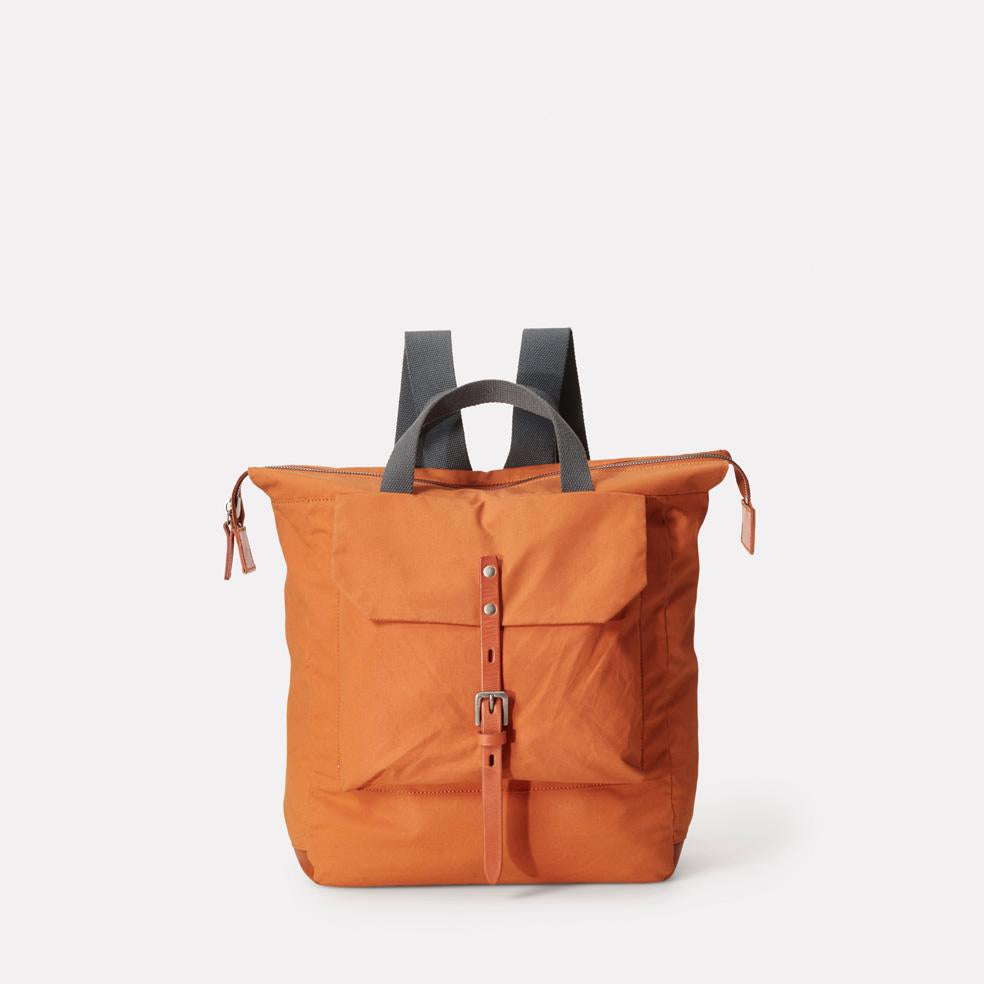 Frances Small Waxed Cotton Zip Up Backpack With Webbing Top Handle in Orange For Women and Men