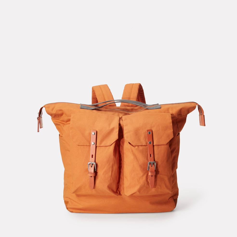 Frank Large Waxed Cotton Backpack With Double Pockets and Wide Zip Up Top Opening in Orange for Men and Women