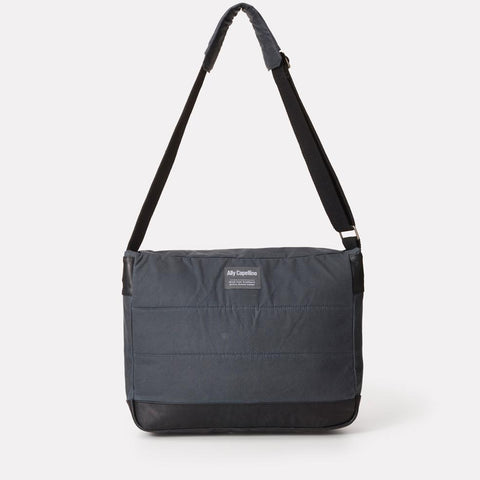Jeremy Waxed Cotton Satchel With Padded Webbing Strap in Grey For Men and Women