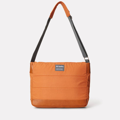 Jeremy Waxed Cotton Satchel With Padded Webbing Strap in Orange For Men and Women