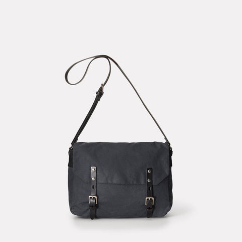 Jez Small Waxed Cotton Satchel With Adjustable Leather Strap in Grey For Women and Men