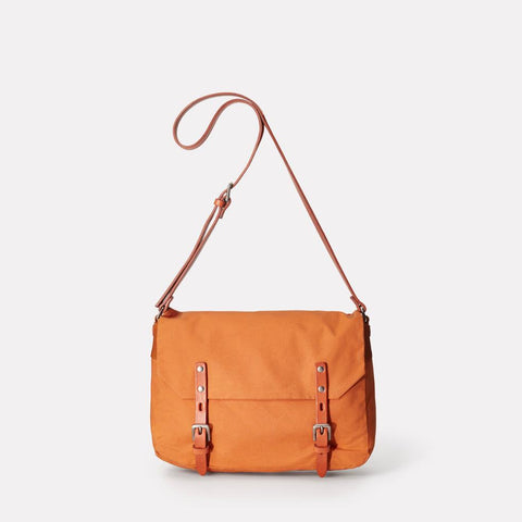 Jez Small Waxed Cotton Satchel With Adjustable Leather Strap in Orange For Women and Men
