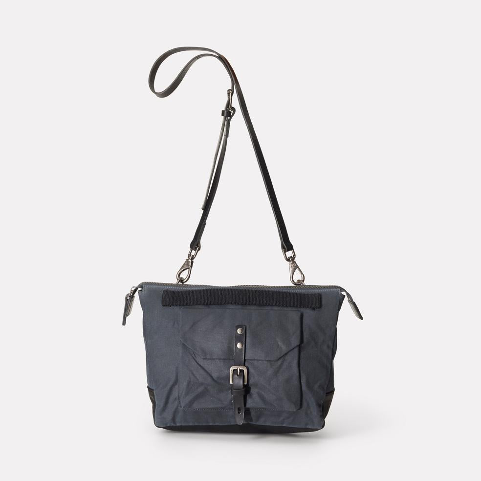Francesca Waxed Cotton Crossbody Bag in Grey