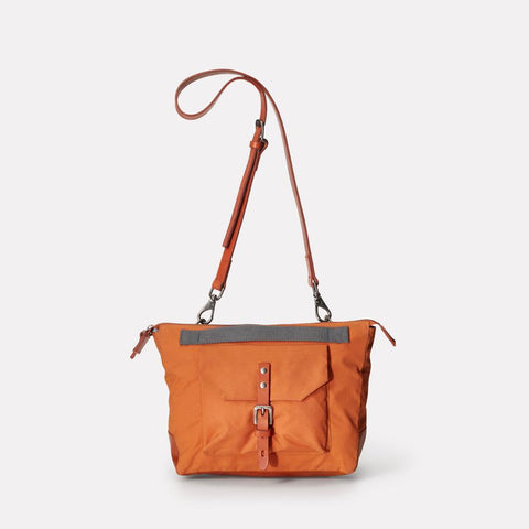 Francesca Waxed Cotton Crossbody Bag With Adjustable Leather Strap in Orange for Women