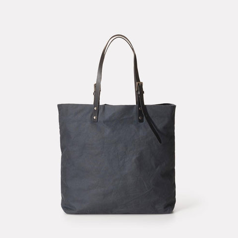 Natalie Waxed Cotton Tote With Leather Straps in Grey For Women and Men