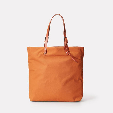 Natalie Waxed Cotton Tote in Orange