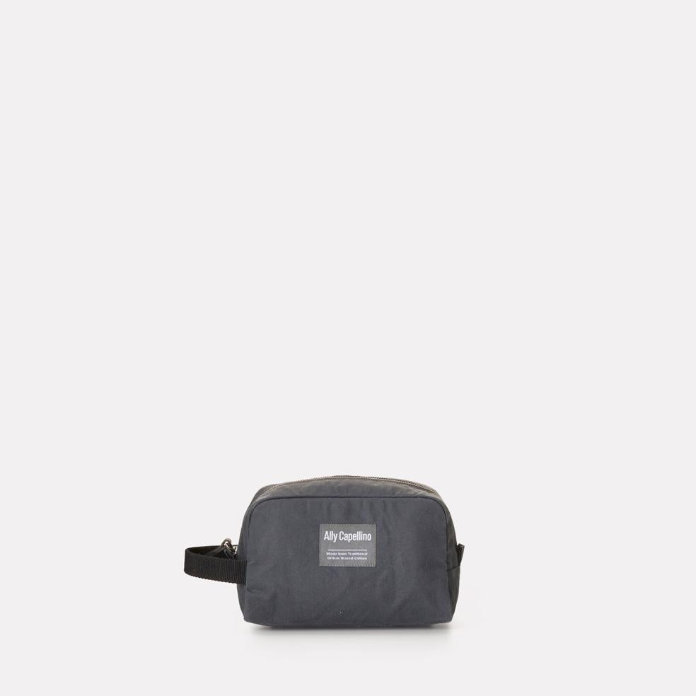 Mini Simon Waxed Cotton Washbag in Grey