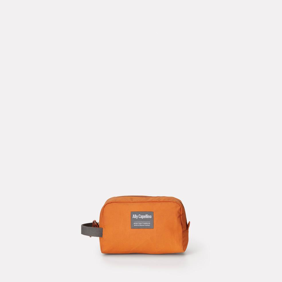 Mini Simon Waxed Cotton Washbag in Orange