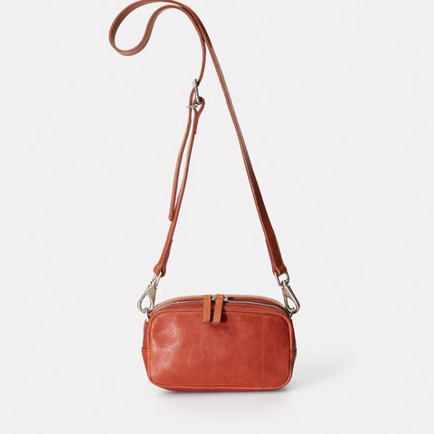 Ginger Vegetable Tanned Leather Zip-Up Crossbody Bag With Adjustable Leather Strap in Brandy for Women