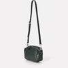 Ginger Vegetable Tanned Leather Zip-Up Crossbody Bag With Adjustable Leather Strap in Dark Green for Women