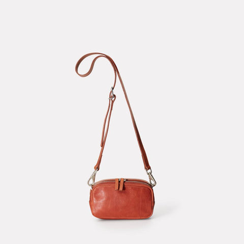 Mini Ginger Vegetable Tanned Leather Zip-Up Mini Crossbody Bag With Adjustable Leather Strap in Brandy for Women
