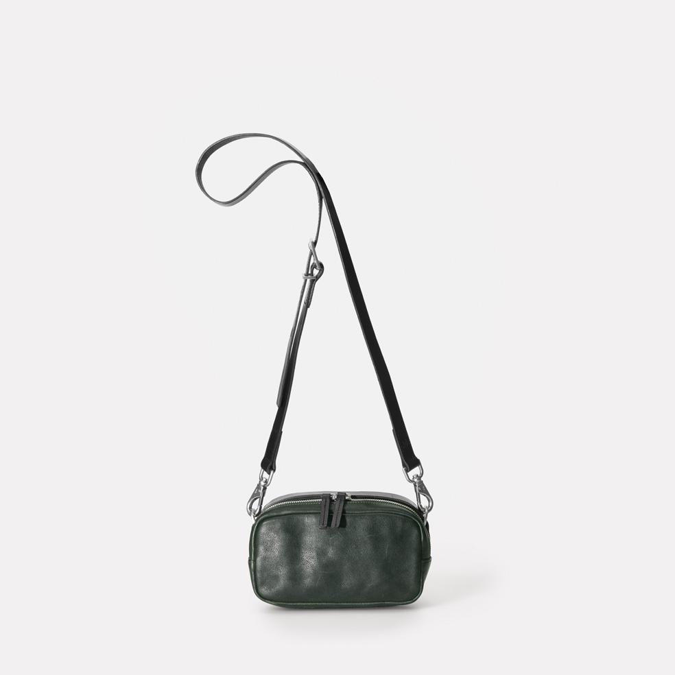 Mini Ginger Vegetable Tanned Leather Zip-Up Mini Crossbody Bag With Adjustable Leather Strap in Dark Green for Women